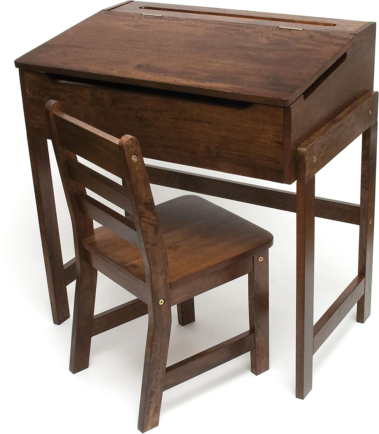 Lipper International 564WN Child's Slanted Top Desk & Chair, Walnut Finish
