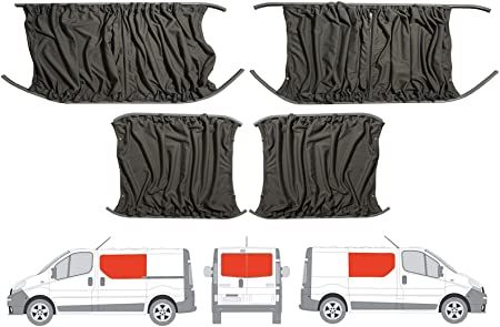 Van Demon Tailored Grey Curtains LH Sliding Door RH Side Panel and Twin Rear Doors Curtain Kit for VW Crafter 06-17