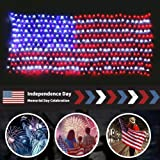 MZD8391 Waterproof American US Flag LED String Light-[UPGRADED LARGER And SAFER]-USA Flag Light/Decorative Hanging Ornaments For Independence Day, Memorial Day,July 4th (Red,Blue,White)