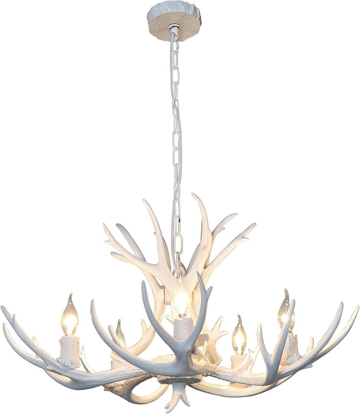 EFFORTINC Resin Antler Chandeliers 5 Light 29.5 Diameter X 17 Tall with 4 Feet Matching Chain Bulbs Not Included