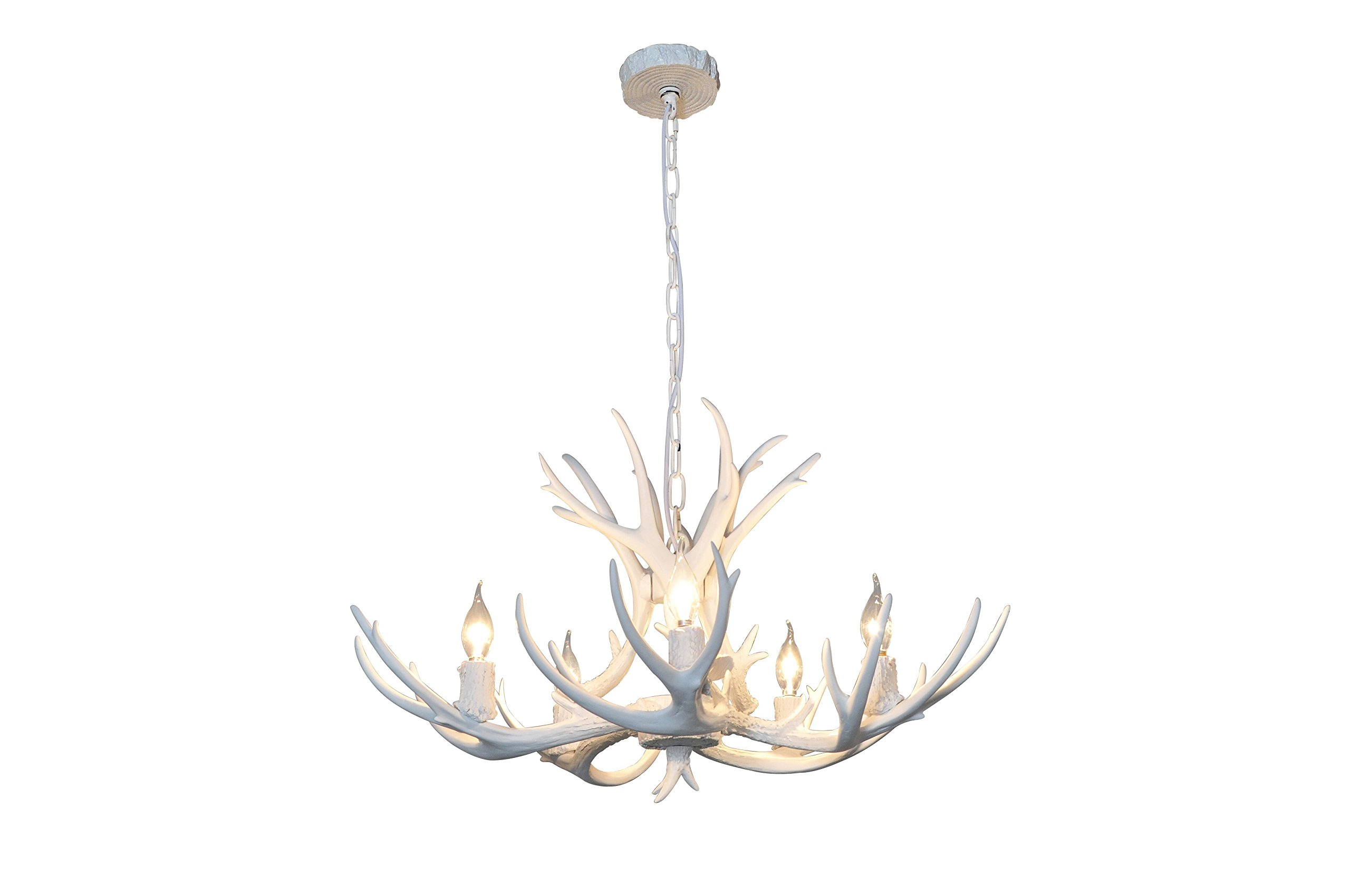 EFFORTINC Resin Antler Chandeliers 5 Light 29.5'' Diameter X 17'' Tall with 4 Feet Matching Chain(Bulbs Not Included)