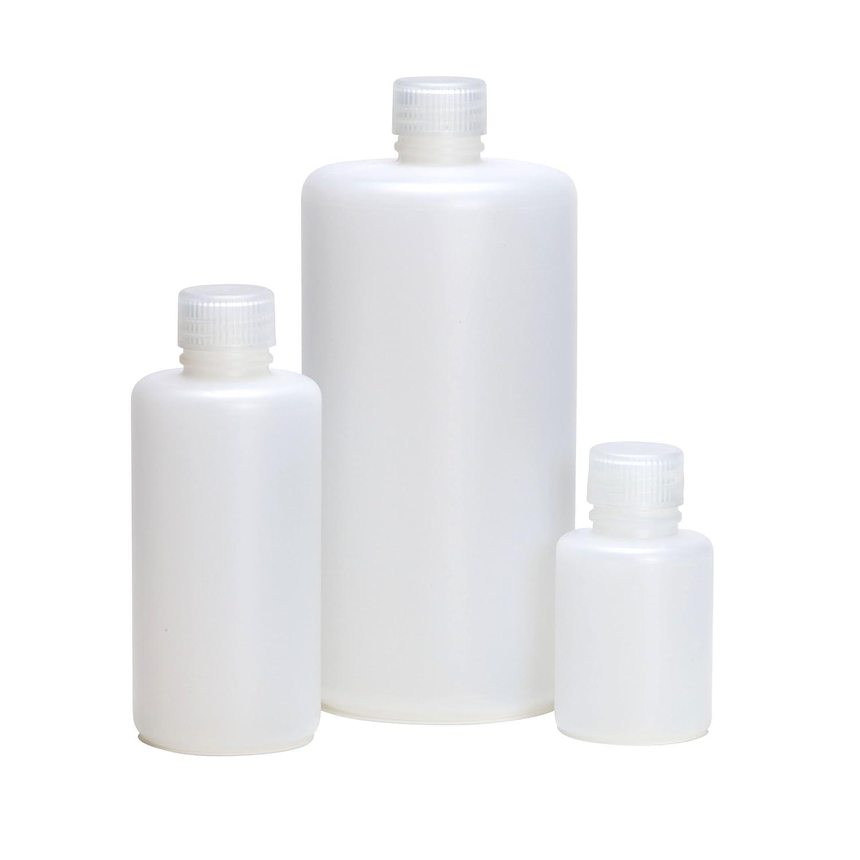 AZLON BNH0100PN Plastic Bottle with Narrow Neck, Polypropylene Screw Caps, HDPE, 100 ml (Pack of 10) Duran Inc