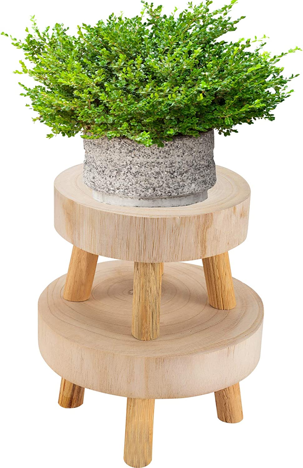 Pack of 2 Mini Wooden Stool Display Stand- Round Decorative Flower Shelf Bonsai Rack Garden Plant Pot Riser Holder Modern Plant Stand with Wood Grain for Indoor Outdoor Home Patio Decoration (S, M)