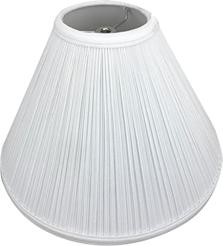 FenchelShades.com Lampshade 4 Top Diameter x 13 Bottom Diameter x 9 Slant Height with Washer Spider Attachment for Lamps with a Harp Pleated White