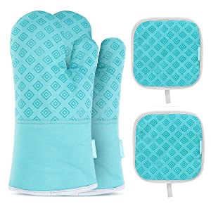 Homemaxs Oven Mitts and Pot Holders 4pcs Set Heat Resistant up to 482F/250°C Non-Slip Food Grade Kitchen Mitten Silicone Cooking Gloves s for Kitchen, Cooking, Baking, BBQ (Turquoise)