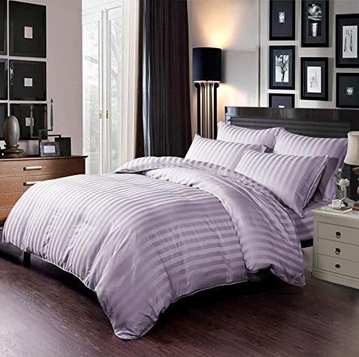 Fitted Sheet and 4 Pillowcases Matching Bedrooms Luxury Satin Black Double Bedding Set Includes Duvet Cover