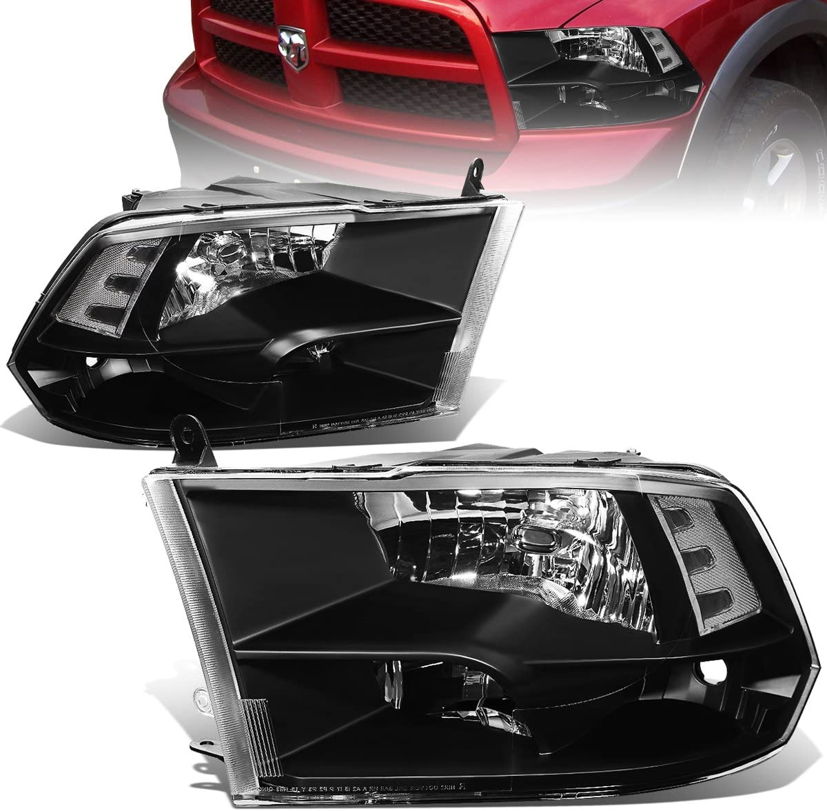 Replacement for Dodge Ram Pair of Black Housing Clear Corner Quad Headlight Lamp - 4th Gen DS/DJ/D2
