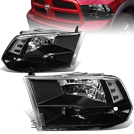 For Dodge Ram Pair of Black Housing Clear Corner Quad Headlight Lamp - 4th  Gen DS/DJ/D2