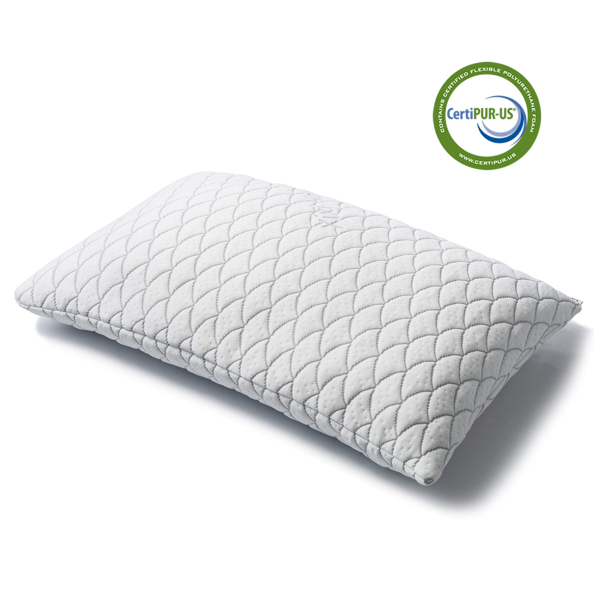 Xixi Home CERTIPUR-US Adjustable Hypoallergenic Shredded Memory Foam Pillow, Original Memory Foam Stuffed Pillow Dust Mite Resistant Bamboo Cover, Neck and Shoulder Pain Relief (King)