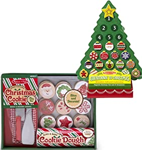 Bundle Includes 2 Items - Melissa & Doug Countdown to Christmas Wooden Advent Calendar - Magnetic Tree, 25 Magnets and Melissa & Doug Slice and Bake Wooden Christmas Cookie Play Food Set