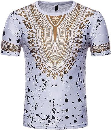 Camiseta para Hombre, Verano Manga Corta Camiseta Africano Impresión Moda Diario Casual T-Shirt Blusas Camisas Camiseta Jaspeada de Cuello Rojoondo para Hombre Suave básica Camiseta vpass: Amazon.es: Ropa y accesorios