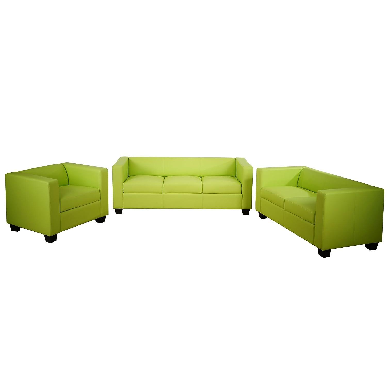 3-2-1 Sofagarnitur Couchgarnitur Loungesofa Lille ~ Kunstleder, hellgrün, 2.Wahl