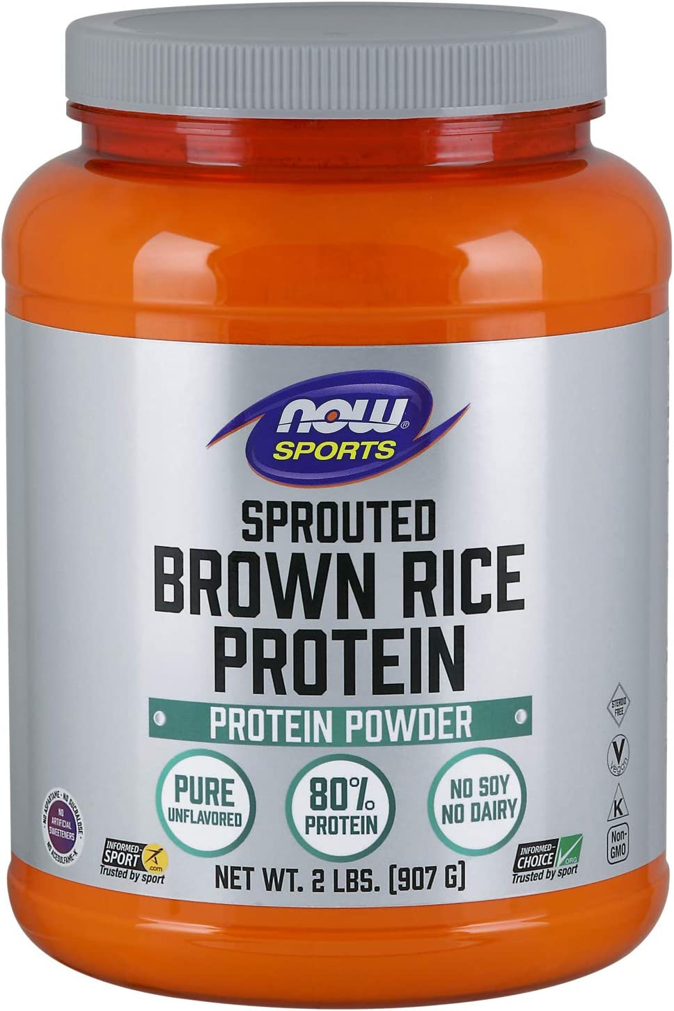 NOW Sports Nutrition, Sprouted Brown Rice Protein, 80% Protein, Unflavored Powder, 2-Pound: Health & Personal Care