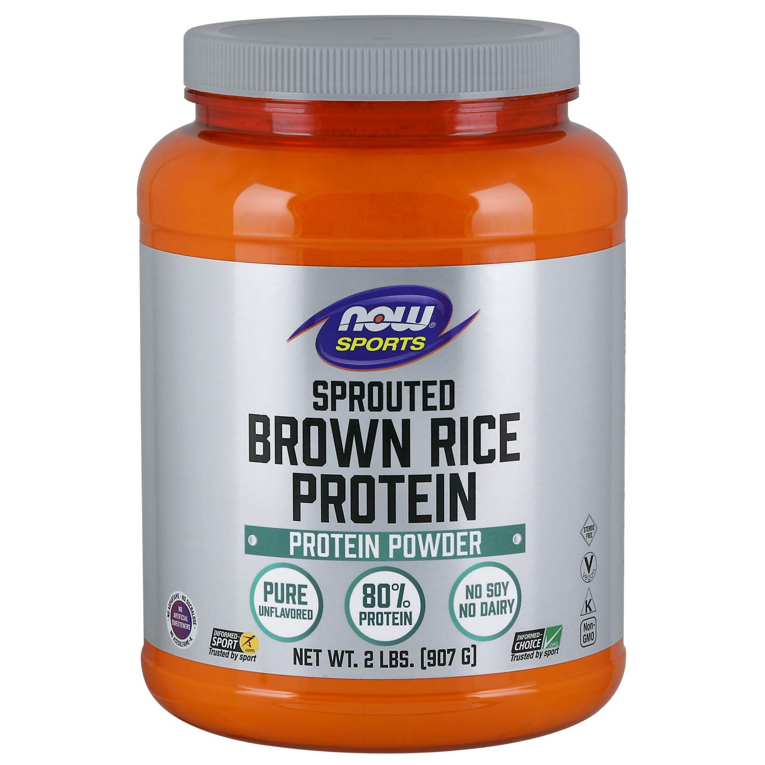 NOW Sports Nutrition, Sprouted Brown Rice Protein Powder, Unflavored, 2-Pound by Now Sports