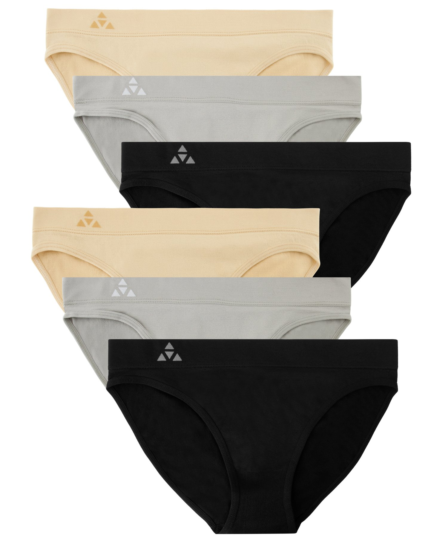 Balanced Tech Women's 6 Pack Seamless Low-Rise Bikini Panties - Black/Nude/Gray - X-Large