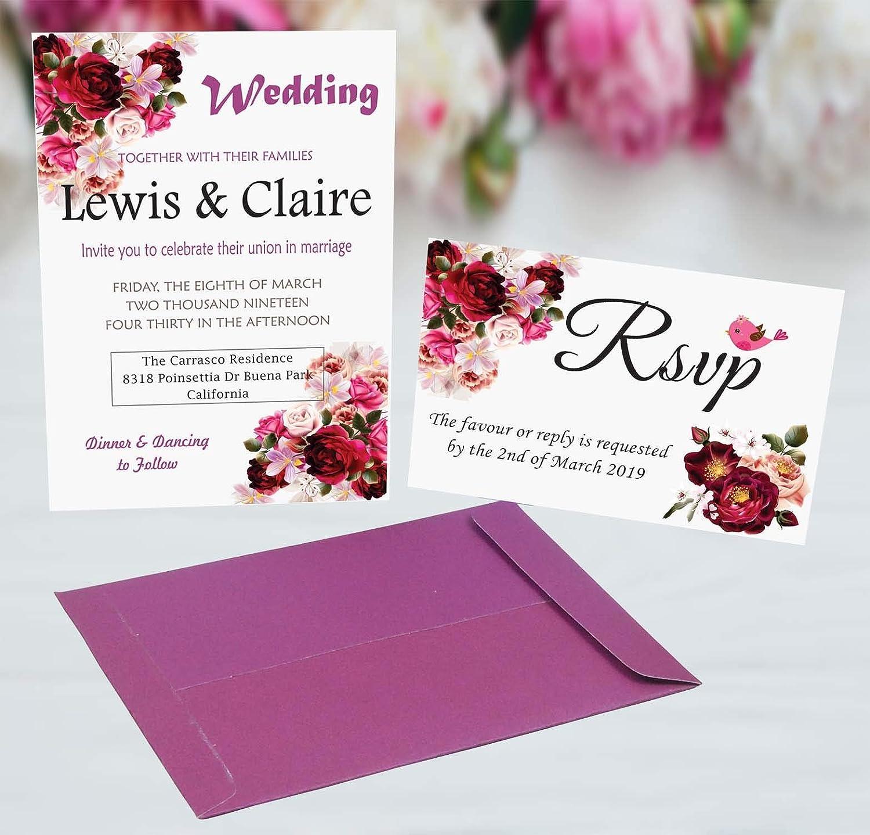 Amazon Com Burgundy Wedding Invitation Envelopes And Rsvp Card