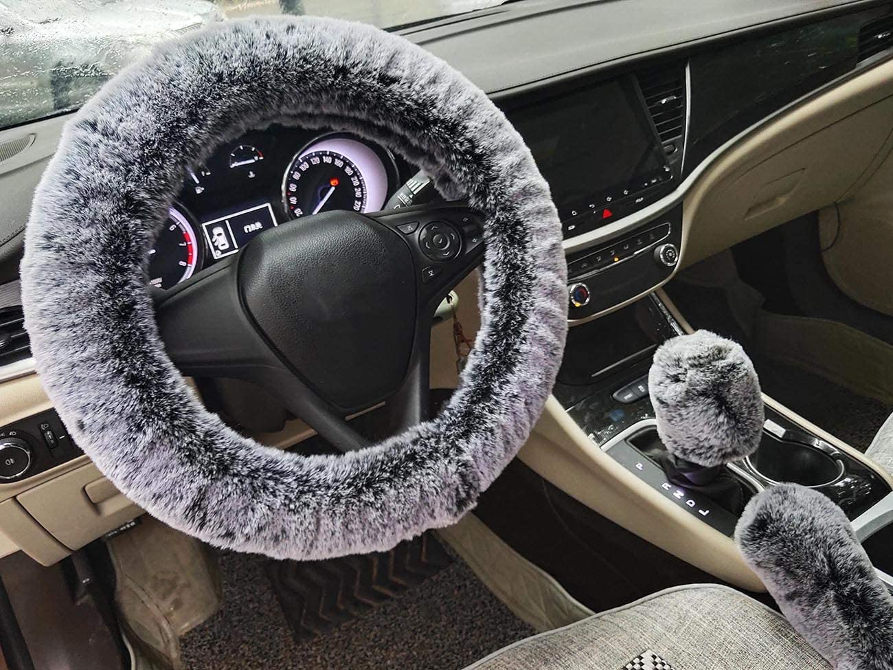 Winter Warm Fluffy Furry Fuzzy Car Steering Wheel Cover,Universal Fit Thickening Faux Fur Plush Steering Covers+Gear Shift Cover and+Brake cover-3pcs Set red