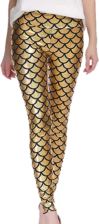 New Fish Scale Mermaid Stretch Shiny Disco Leggings Pants Womens Uk 8-22