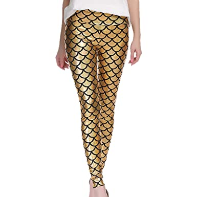 9317f618359c68 Kids Girls Fish Scale Leggings Mermaid Stretch Foil Wet Shiny Disco Party  Pants: Amazon.co.uk: Clothing