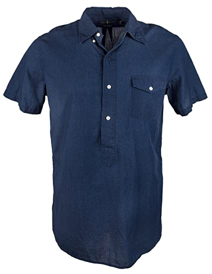 edcf74e1e Ralph Lauren Men s Indigo Dyed Chambray Short Sleeve Shirt at Amazon Men s  Clothing store