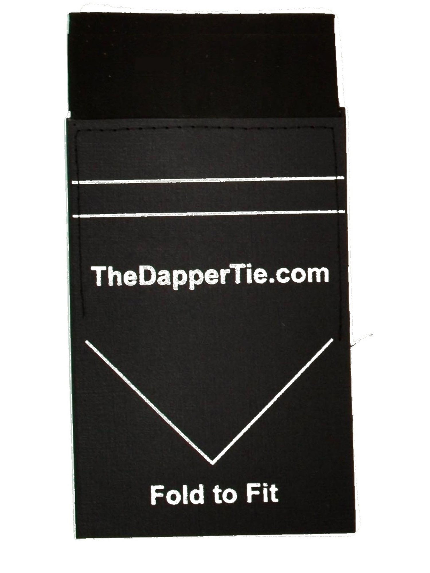 Men's Solid Flat Double Toned Pre Folded Pocket Square on Card - Black