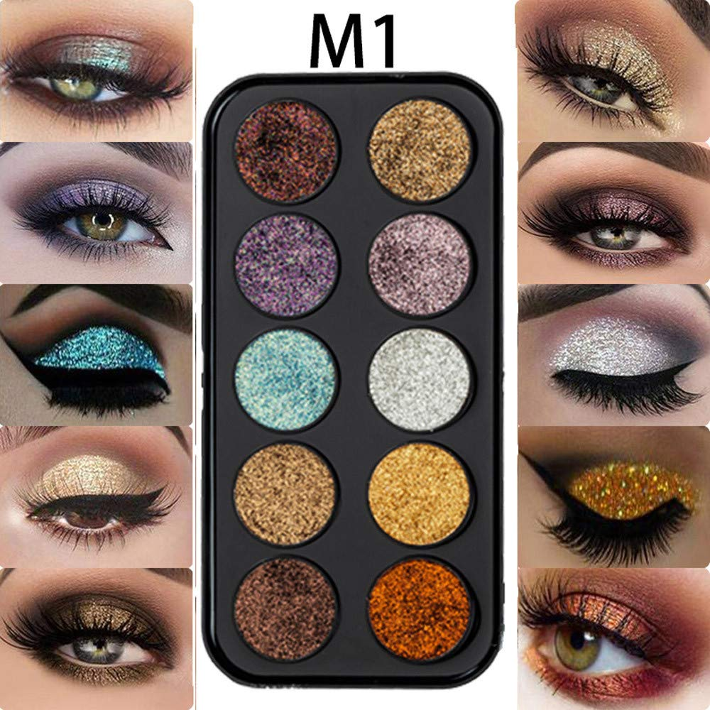 12 Color Glitter Eyeshadow Palette Shimmer Gold Shine Eyeshadow Glitter Shiny Eyeshadow Blue Eye Shadows Cosmetics Tool Diamond Eye Shadow
