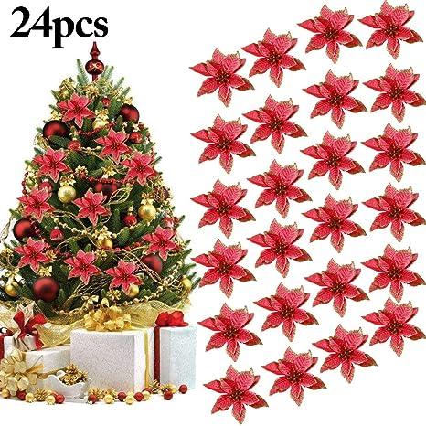 Immagini Di Fiori Di Natale.Ornamento Di Albero Di Natale Outgeek 24pcs Glitter Fiore Artificiale Fiori Di Albero Di Natale Ornamento Di Decorazione Fiore Falso Di Natale