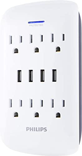Philips 6-Outlet Surge Protector Wall Tap USB Charging Station, 4 Ports, Power Adapter, White, SPP6463WG/37