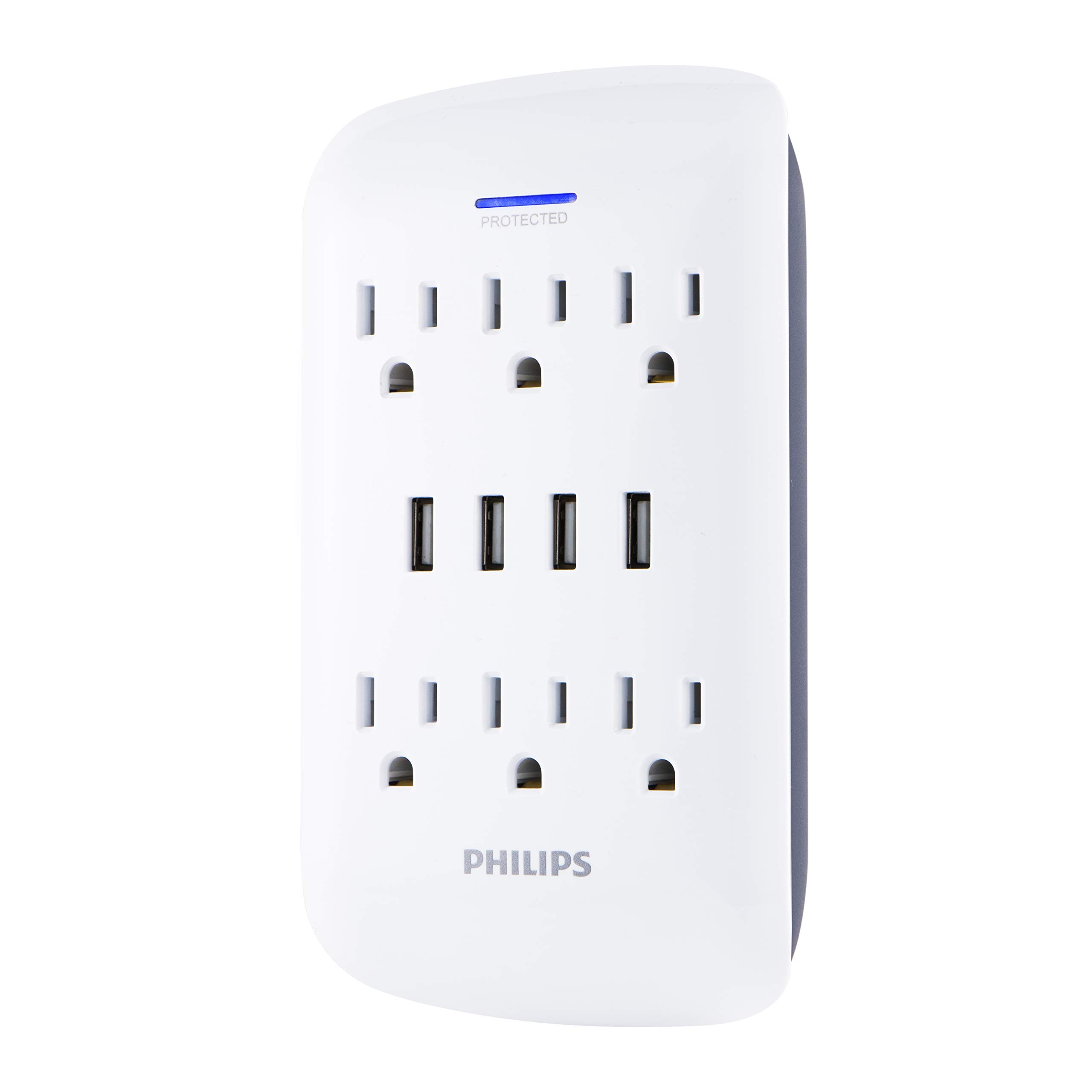 Philips USB Wall Charger, Surge Protector, 6 Grounded Outlets, 4 USB Ports, 4.2AMP, 21Watt, 900 Joules, Charging Station, White, SPP6463WG/37
