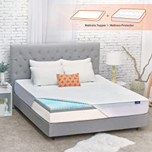 Sweetnight 3 Inch Mattress Topper King Size with Waterproof Mattress Protector, Memory Foam Topper Infused Gel & Bamboo Charcoal, Cooling & Ventilation, Plus 4 Bed Sheet Holder Straps, Medium Plush