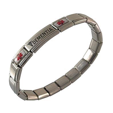 8b263a627bf Amazon.com: Gadow Jewelry Dementia Medical ID Alert Italian Charm Bracelet:  Identification Bracelets: Jewelry