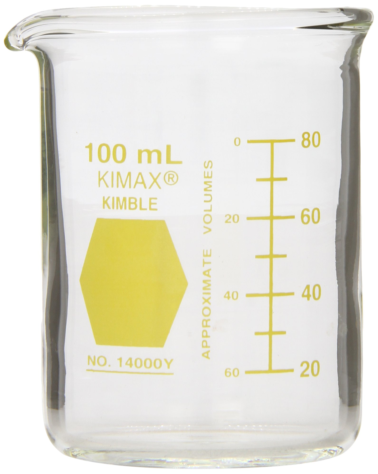 Kimble 14000Y-1000 Glass Low Form Griffin Beaker with Double Capacity Scale, 100-1000mL Graduation Interval, 1000mL Capacity, 50mL Graduation, Yellow (Case of 6)