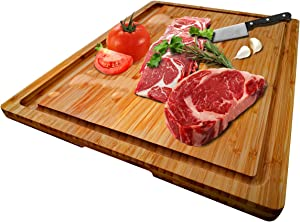 """Large Organic Bamboo Cutting Board With Special Design Juice Grooves For Kitchen, Reversible Chopping Board With Tray For Meats Bread Fruits, Carving Board BPA Free (17x12.6""""-With Tray)"""