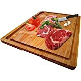Large Organic Bamboo Cutting Board With Special Design Juice Grooves For Kitchen, Reversible Chopping Board With Tray…