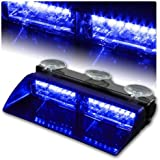 Rupse 16 LED High Intensity LED Law Enforcement Emergency Hazard Warning Strobe Lights For Interior Roof/Dash/Windshield With Suction Cups (Blue)