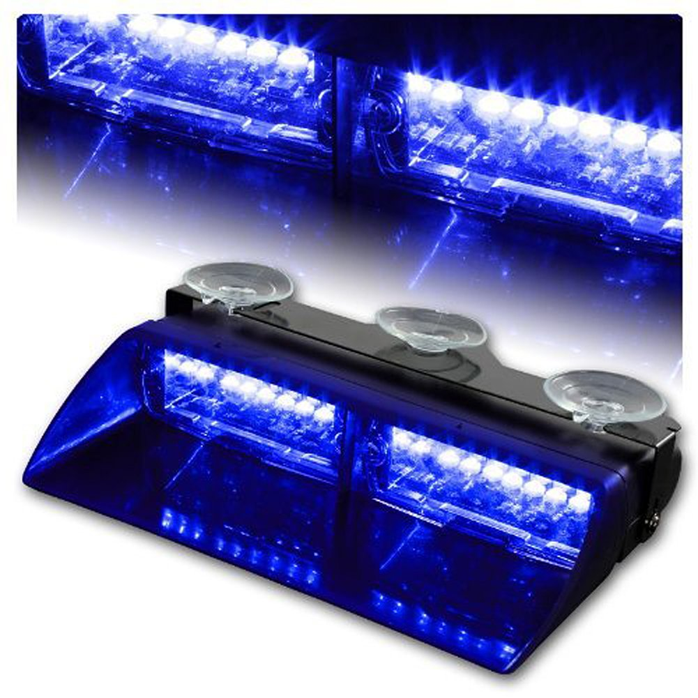 Rupse 16 Led High Intensity Law Enforcement Emergency Hazard Leds On 12v For Cars And Trucks Warning Strobe Lights Interior Roof Dash Windshield With Suction Cups Blue