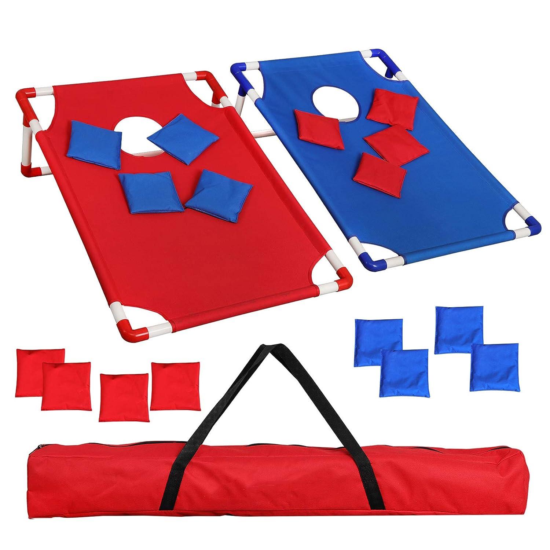 f2 Cポータブル折りたたみ式アルミフレーム付きBeanバッグCornhole Toss Game Set Boards with 8 Beanバッグと携帯ケース B07GJJ7VQD 3FT*2FT Blue& Red PVC Frame 3FT*2FT Blue& Red PVC Frame