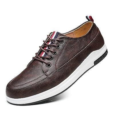 XI-GUA Leder Schnürsenkel Schuh für Herren Komfort Casual Niedrig Walking  Outdoor Sportschuhe Schwarz 4fdb535aef