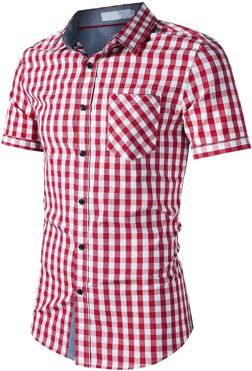 KaWaYi Men Gentleman Short Sleeve Lapel Plaid Pattern Silm Fit Dress Shirt