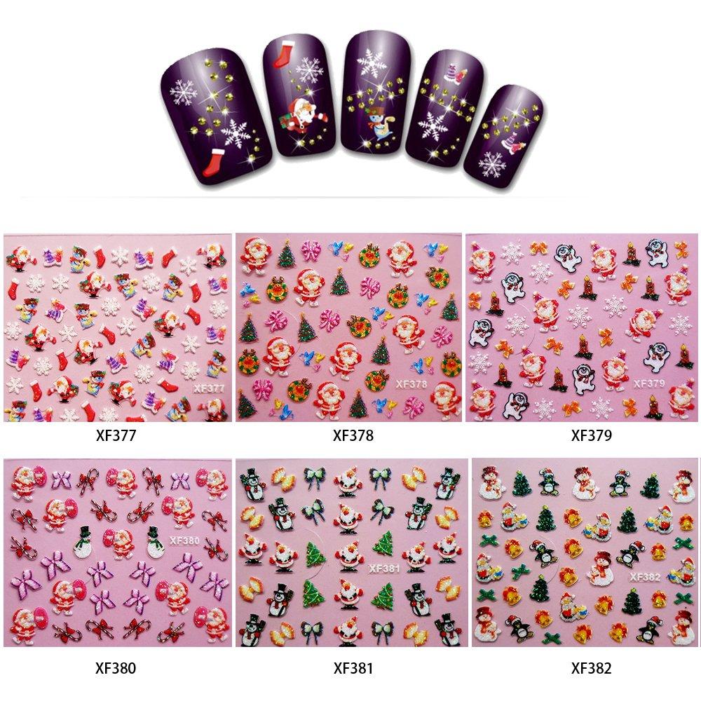 Walmeck 6pcs Art Christmas 3D French Beauty Nail Sticker