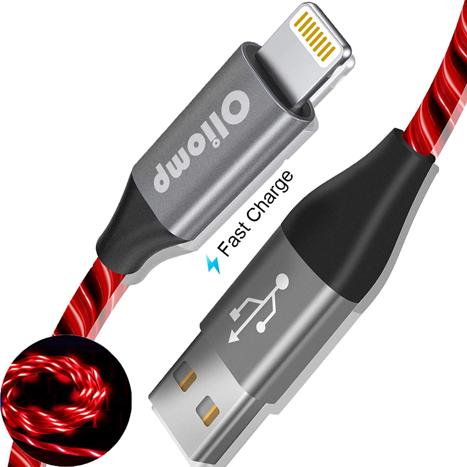 iPhone Charger Cable, Oliomp (Apple MFi Certified) 6ft LED Light Up Visible Flowing Lightning Cable iPhone Charging Cord for Apple iPhone 11 Pro Max XS XR X 8 7 6S 6 Plus SE 5S 5C 5 iPad (Red)