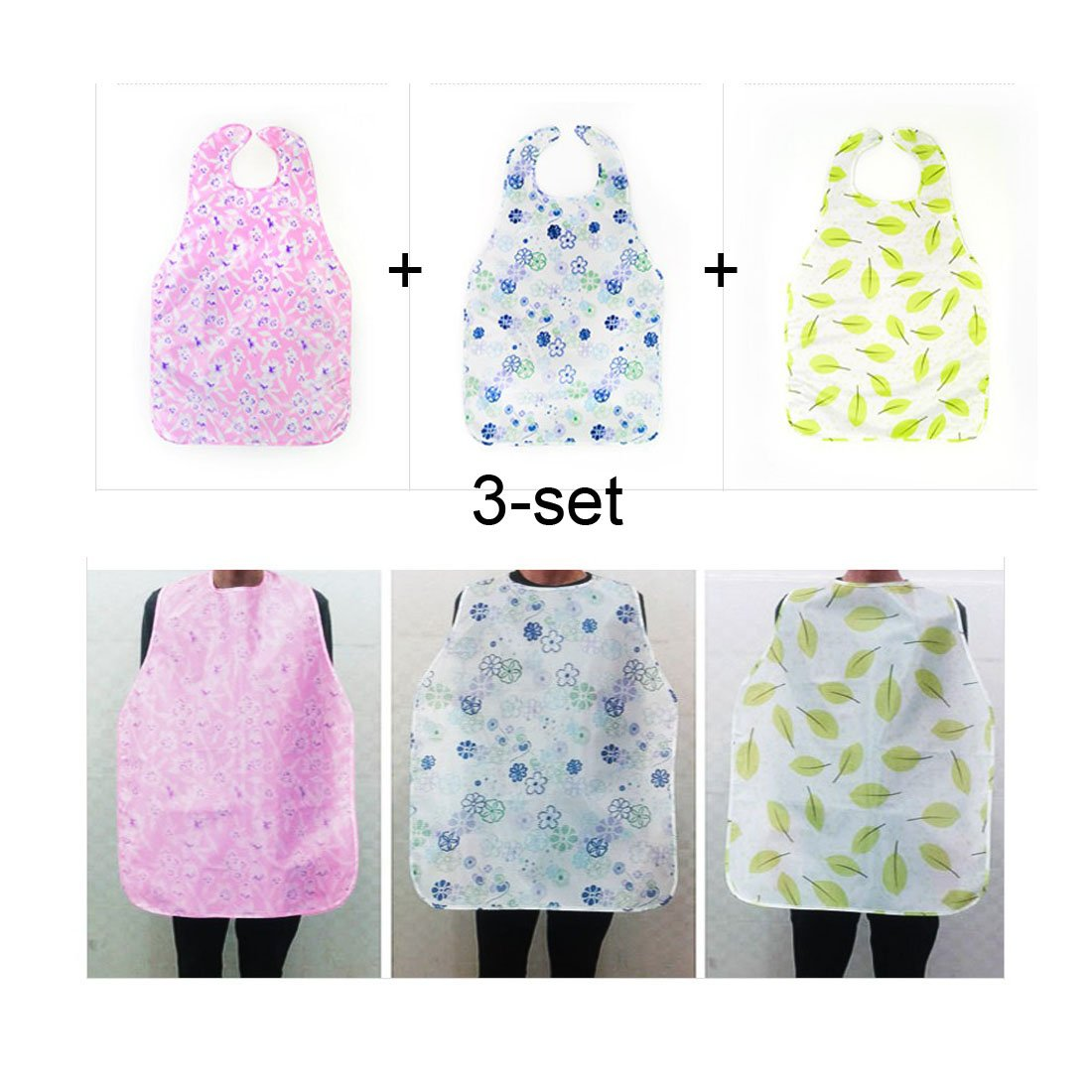 Long Large Size Adult Bibs / 3 Pack/Clothing Protector- Absorbent, Waterproof. Keeps Mealtime Neat