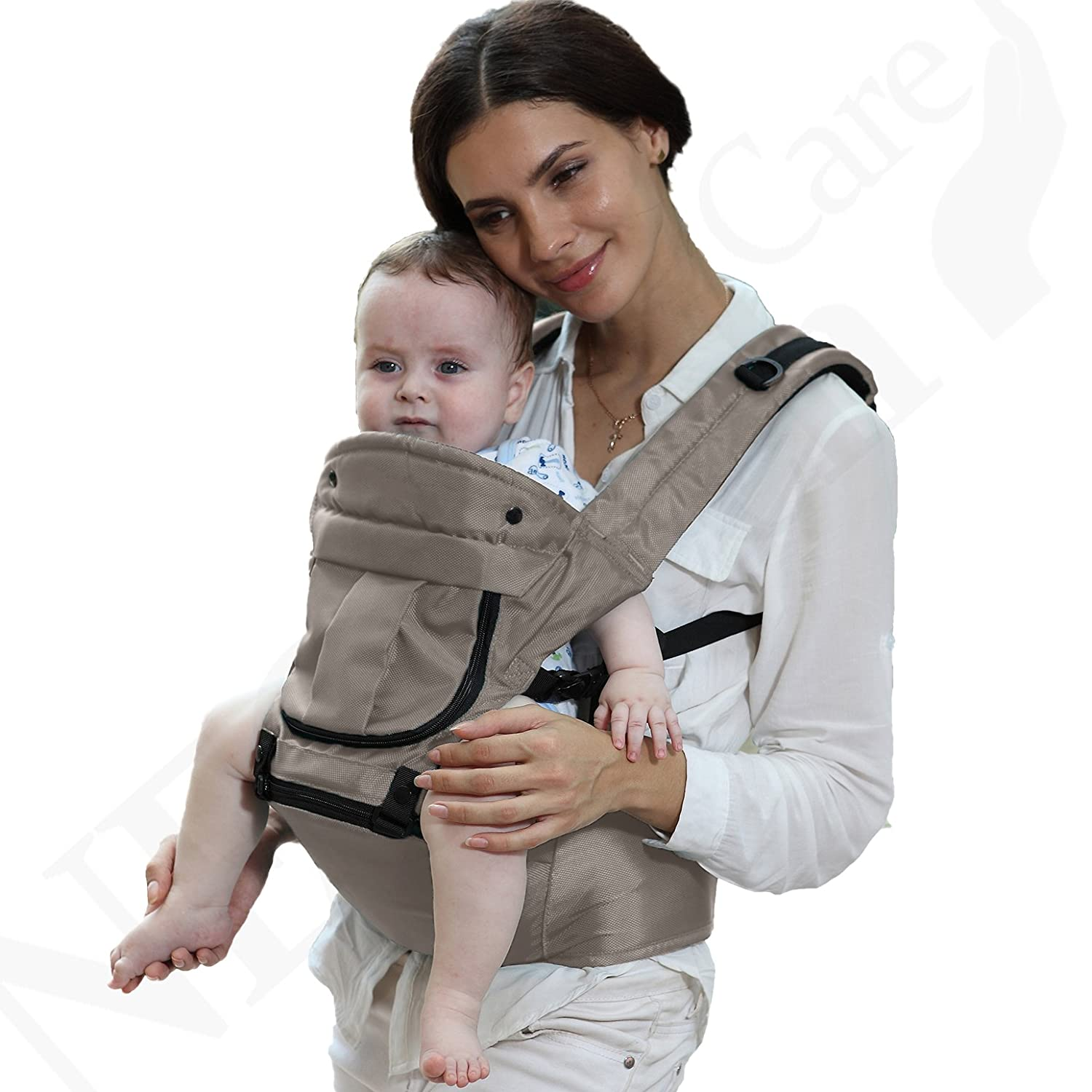 Baby Carrier Hip Seat 100% Cotton - Removable Hoodie - Adjustable - Neotech Care Brand - For Infant, Child, Toddler - Grey NTC-BC018 Grey