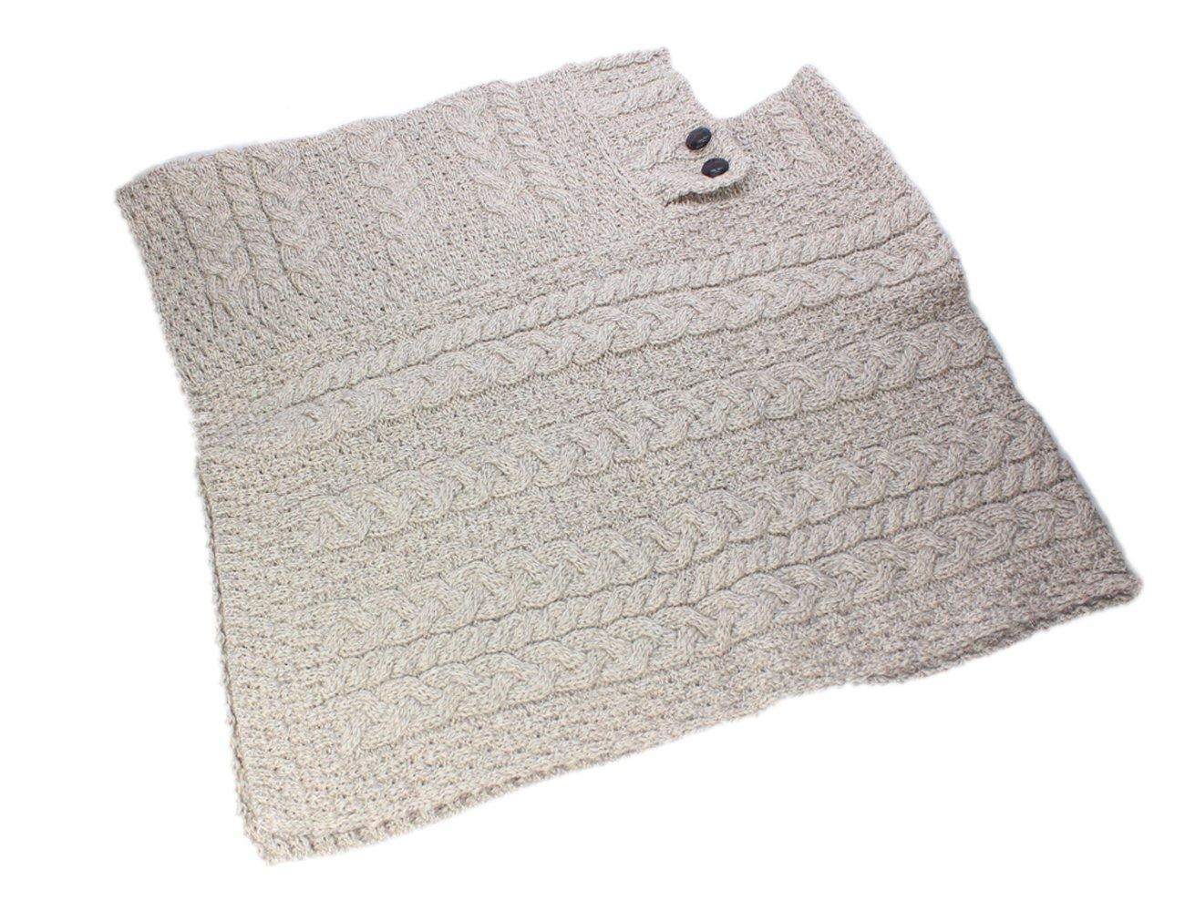 Fisherman Knit Poncho 100% Merino Wool Natural by Carraig Donn (Image #1)