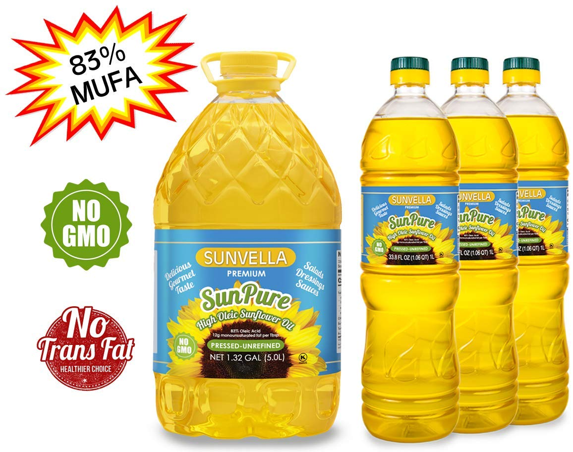 SUNVELLA SunPure Non-GMO High Oleic Sunflower Oil, Pressed-Unrefined Pack of 4 (1.32 GAL + 3 x 33.8 FL OZ) by SUNVELLA