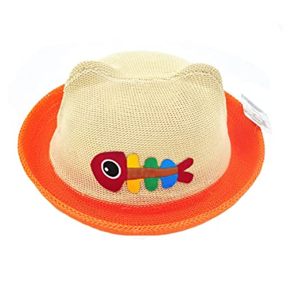 Amazon.com   Cute Kids Hat Straw Sun Hats Cap Toddler Hat - Fishbone  Pattern   Sports   Outdoors 161f59e2ea6