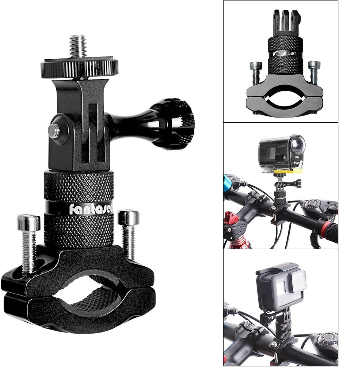 Soporte de cámara de acción para bicicleta, adaptador de manillar de aluminio giratorio de 360 grados para GoPro Hero 7/6/5/4/3+/3 Sony Action Cam y otros soportes de cámara deportiva para bicicleta
