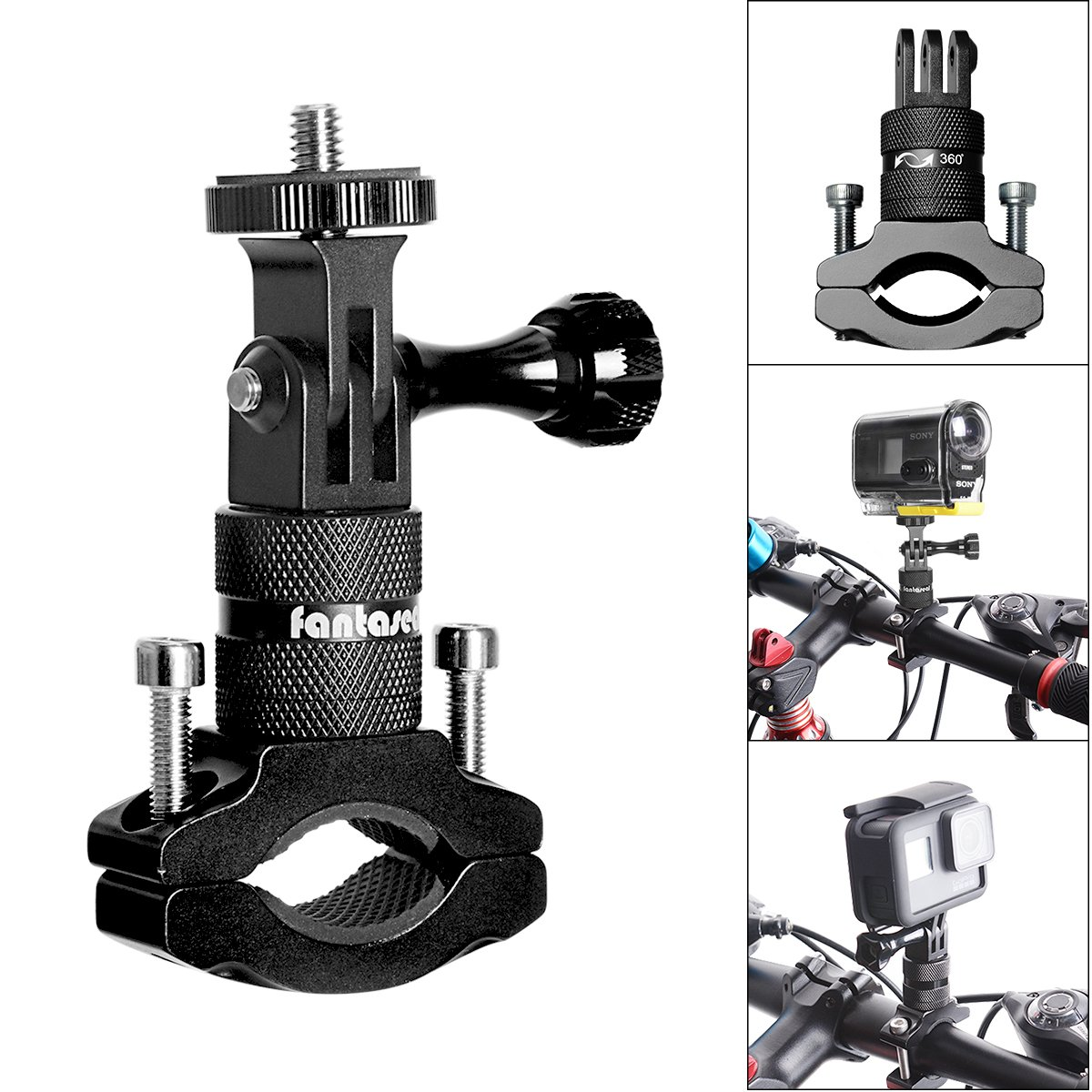 Action Kamera Bike Mount, Aluminium Lenker Adapter 360Grad drehbar Fahrrad Rack Mount für GoPro Hero 6/5/4/3+/3/2/Session Sony Action Cam und andere Sport Kamera Bike Halter Victool VBK-1703EU-T1