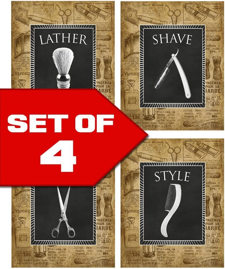 Wallables Vintage Barber Shop Theme! Set of Four Stylish 8x10 Mens Wall Decor Art Prints. Great for Bathroom, Bachelor Pad or Barbershop! Lather, Shave, Trim, Style Exclusively at