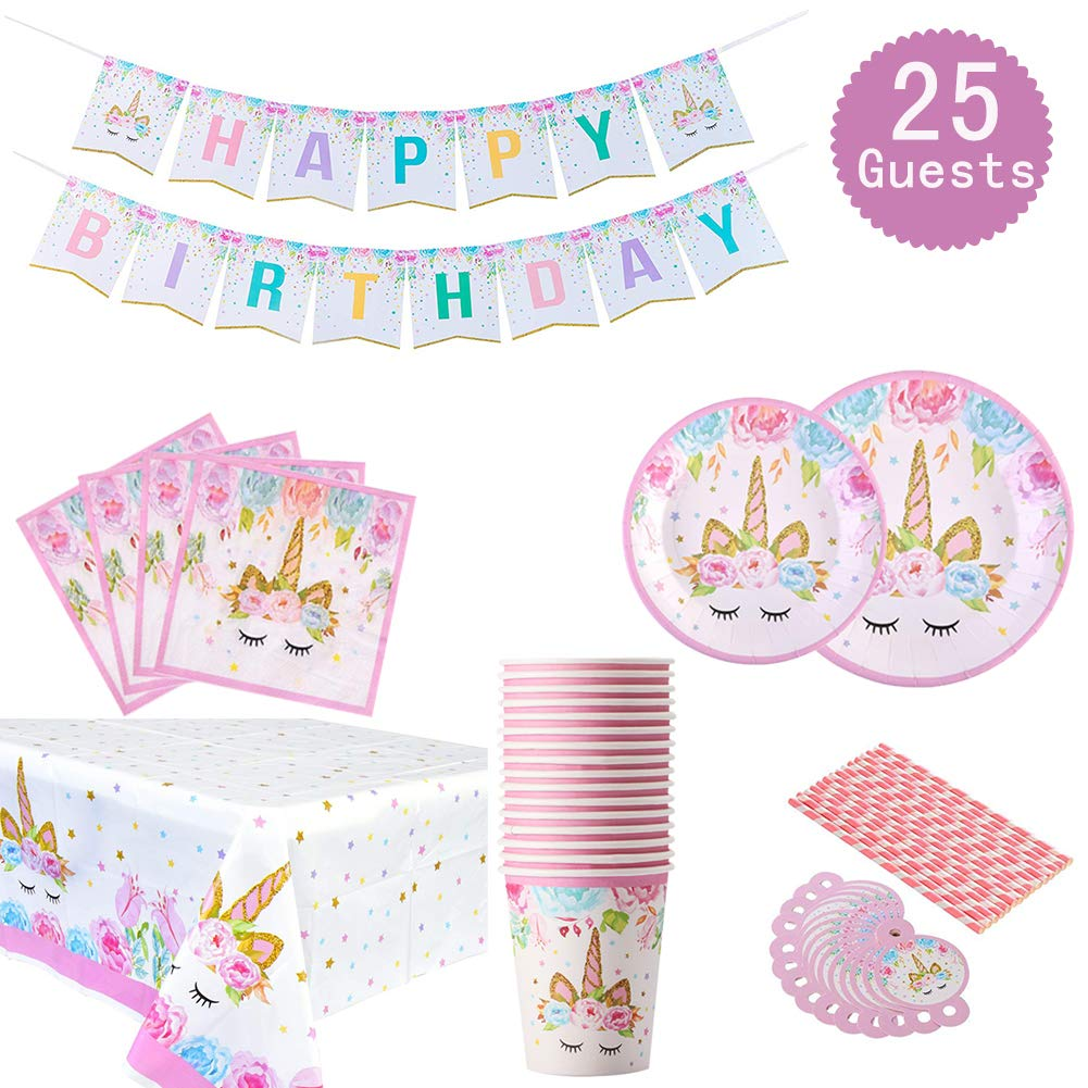 Unicorn Themed Party Supplies Set - Serves 25, Unicorn Birthday Plates, Cups, Napkins, Banner, Straws and Tablecloths, Magical Unciorn Party Decorations for Girls Disposable Unicorn Tableware by Jolajola